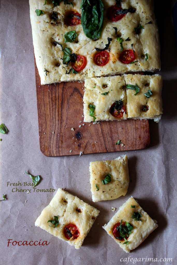Fresh Basil and cherry tomato focaccia