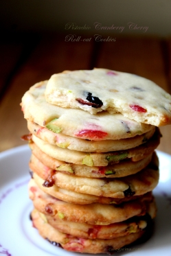 Pistachio Cranberry Cherry Roll Out Cookies